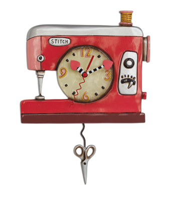 Double Stitch Sewing Machine Wall Pendulum Clock