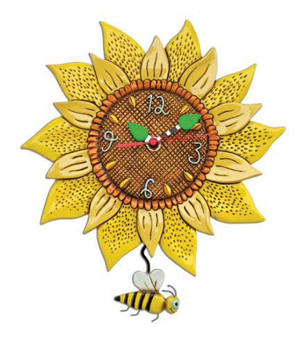 Bee Sunny Sunflower Pendulum Wall Clock