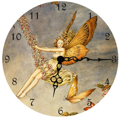 Fairy on a Swing Wall Clock