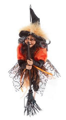 Hanging Witch in Orange Decoration