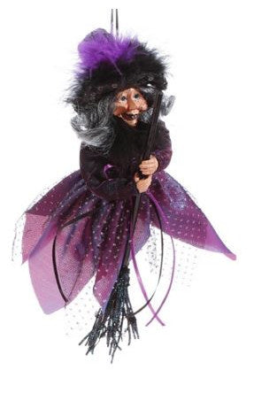 Hanging Witch in Purple Decoration
