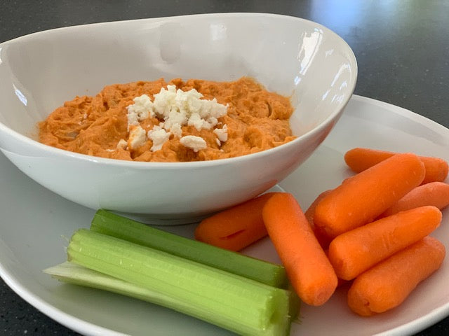 Buffalo Chicken Dip w/ Celery & Carrots