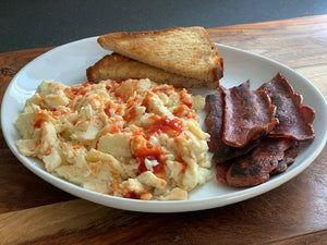 Scrambled Eggs, Toast & Turkey Bacon