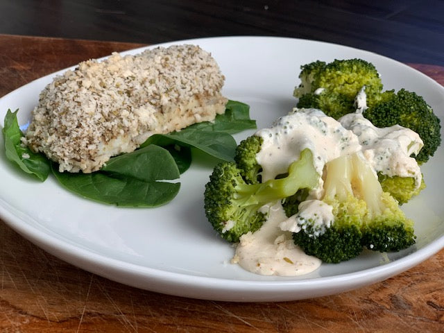 Italian Encrusted Halibut W. Creamy Garlic Broccoli