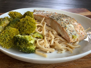 Lemon Garlic Salmon & Broccoli Pasta