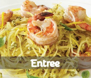 Shrimp & Spaghetti Squash with Walnut Ginger Pesto