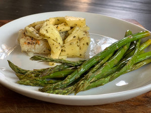Lime Butter Cod w/ Pineapple Slaw & Asparagus