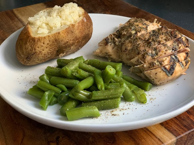 Marinated Chicken Breast/Green Beans/Baked Potato