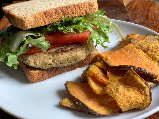 Mediterranean Veggie Burger w/ Sweet Potato Fries