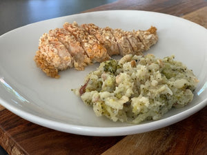 Oatmeal Chicken w/ Broccoli & Potato Au Gratin