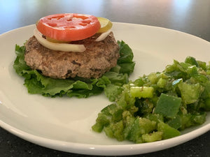 Open Face Burger, Mediterranean Marinated Peppers