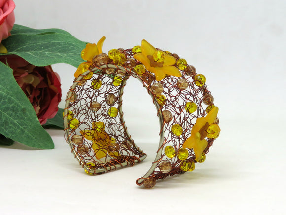 Amber Brown Flower Boho Crochet Wire Beaded Cuff Bracelet