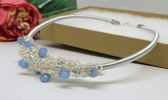 Jade Blue Silver Crochet Wire Beaded Bib Necklace