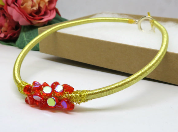 Red Gold Crochet Wire Beaded Bib Necklace