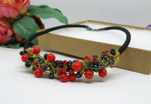 Black Red Crochet Wire Beaded Bib Necklace
