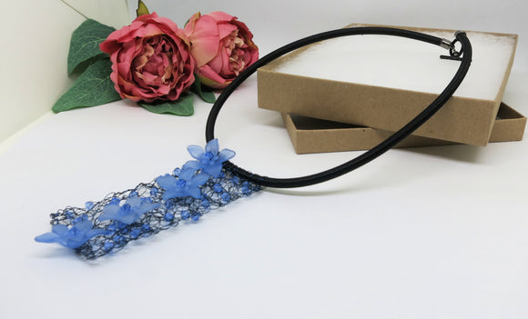 Blue Black Crochet Wire Beaded Bib Necklace