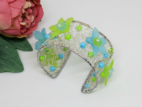 Turquoise Lime Flower Crochet Wire Beaded Cuff Bracelet