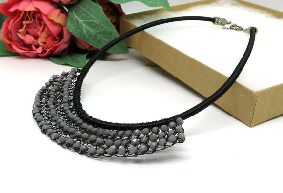 Black Grey Crystal Crochet Wire Beaded Bib Necklace