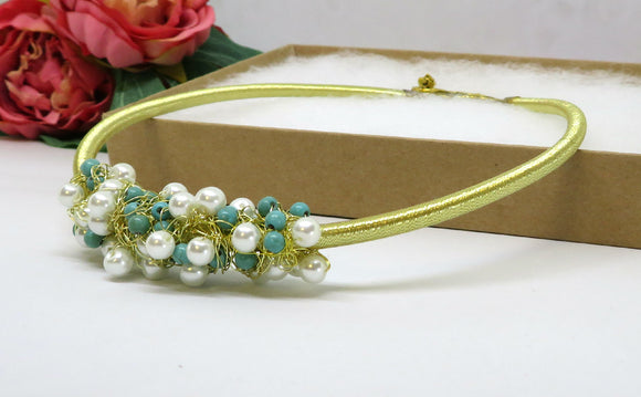 Turquoise Pearl Crochet Wire Beaded Necklace