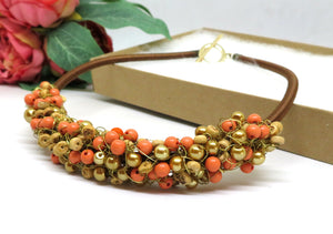 Coral Gold Raw Wood Crochet Wire Beaded Bib Necklace