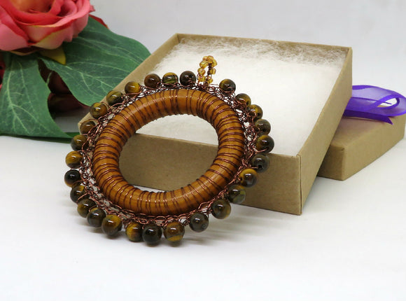 Tigers Eye Crochet Wire Wooden Pendant