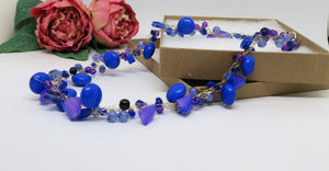 Blue Lilac Crochet Wire Beaded Necklace