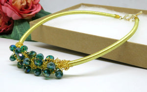 Green Gold Crochet Wire Beaded Bib Necklace
