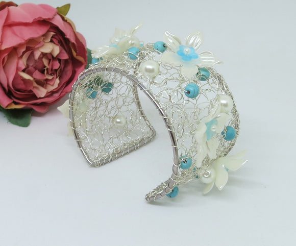 Turquoise Cream Flower Crochet Wire Beaded Cuff Bracelet
