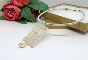 Silver Crochet Wire Beaded Pendant