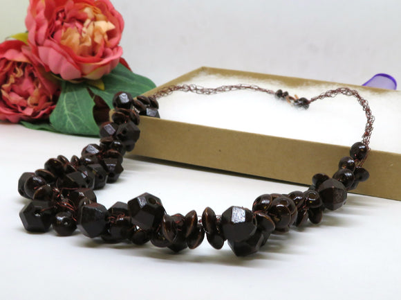 Brown Wooden Crochet Wire Beaded Necklace