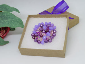Purple Pink Plumb Lilac Crochet Wire Beaded Brooch