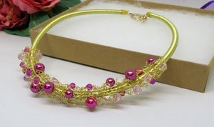 Pink Gold Crochet Wire Beaded Bib Necklace