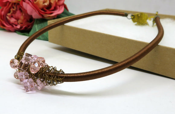 Soft Pink Vintage Bronze Crochet Wire Beaded Bib Necklace
