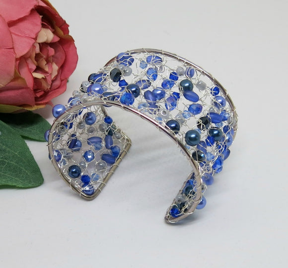 Blue Grey Crochet Wire Beaded Cuff Bracelet