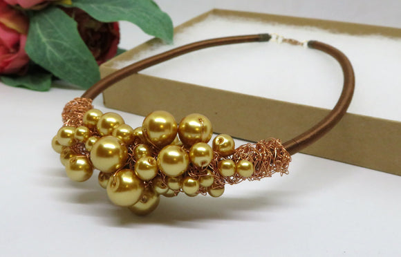 Gold Pearl Copper Crochet Wire Beaded Bib Necklace