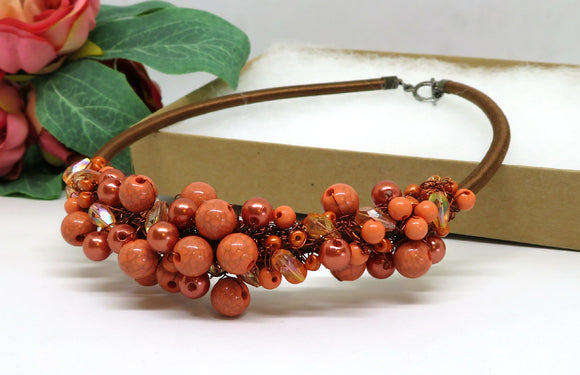 Copper Coral Bronze Crochet Wire Beaded Bib Necklace