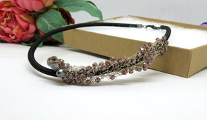 Plumb Crochet Wire Beaded Necklace
