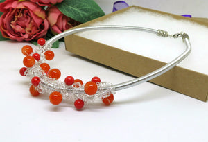 Orange Red Crochet Wire Beaded Bib Necklace