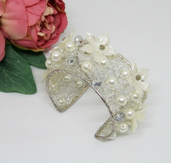 Bridal Cream White Flower Crochet Wire Beaded Cuff Bracelet