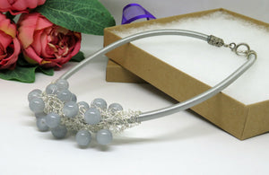Grey Silver Crochet Wire Beaded Bib Necklace