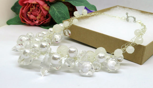 Opaque Cream Clear Crochet Wire Beaded Necklace