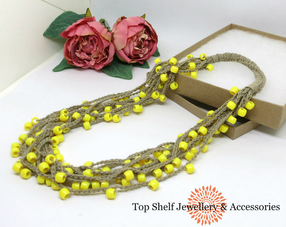 Lemon Natural Tan Crochet Cotton Necklace Necklace