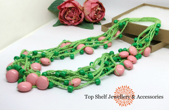 Apricot Green Crochet Cotton Necklace Necklace