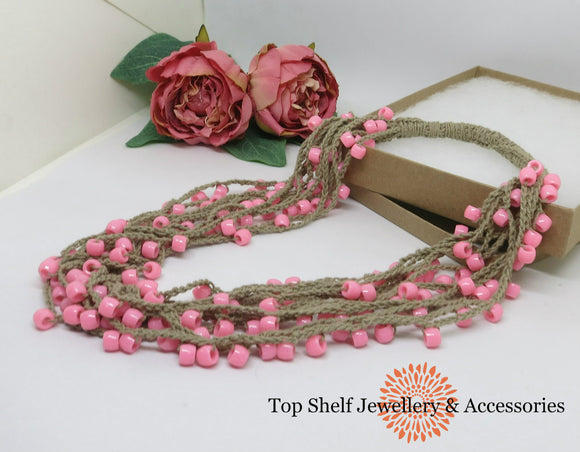 Pink Tan Crochet Cotton Necklace Necklace