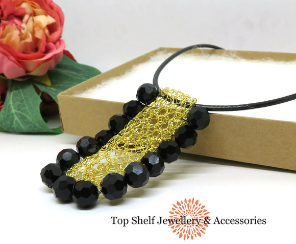 Black Gold Crochet Wire Beaded Bib Necklace
