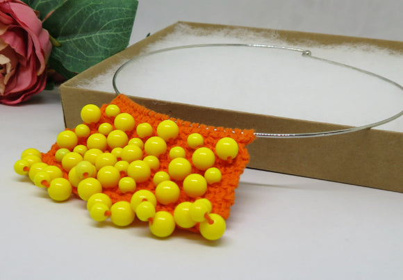 On Sale Orange Yellow Crochet Cotton Bib Necklace