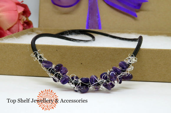 Amethyst Crochet Wire Beaded Necklace