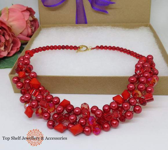 Red Crochet Wire Beaded Necklace