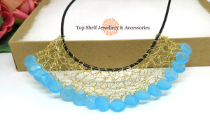 Blue Dyed Jade Crochet Wire Beaded Necklace