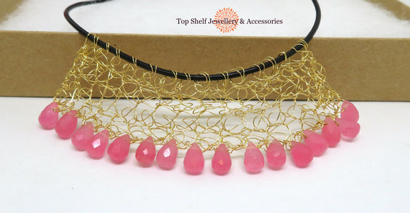 Pink Dyed Jade Crochet Wire Beaded Necklace